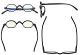 Blaulichtfiltergläser Blendfreie Leichtgewichts Computerbrillen - Kleine, runde UV-Strahlen Schutz -Lesebrillen für Damen Herren die mit Federscharnieren Schwarz UVR077X