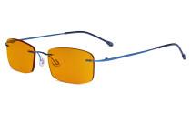 Computer-Brille - Blaulicht-Schutzbrille mit orange getönter Filtergläser für die Nacht - Randlose, blendschuz UV-Strahlen schutz Damen Herren , Blau DSWK8