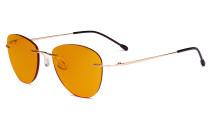 Blaulicht blockiert Computerbrillen mit orange getönten Filtergläser zum Schlafen in der Nacht - Randlose Pilot-Brillen Anti-UV-Strahlen Blendung Damen Gold DSWK9901B