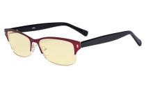 Damen-Blaulicht-Schutzbrille mit gelber Filtergläser - Computerbrillen Damen Blendschutz - Reduzieren Augen belastung durch blaue Strahlen. Rot  LX19003-BB60