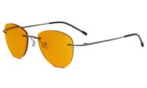 Blaulicht blockiert Computerbrillen mit orange getönten Filtergläser zum Schlafen in der Nacht - Randlose Pilot-Brillen Anti-UV-Strahlen Blendung Damen Metallisch Blaugrau DSWK9901B