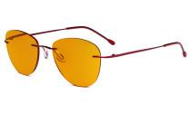 Blaulicht blockiert Computerbrillen mit orange getönten Filtergläser zum Schlafen in der Nacht - Randlose Pilot-Brillen Anti-UV-Strahlen Blendung Damen Rot DSWK9901B