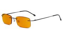 Computer-Brille - Blaulicht-Schutzbrille mit orange getönter Filtergläser für die Nacht - Randlose, blendschuz UV-Strahlen schutz Damen Herren ,Schwarz DSWK8