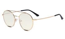 Ladies Blue Light Filter Glasses - Double Bridge Round Design Eyeglasses for Women Block Computer Screen UV Rays - Anti Glare Filter Reduce Eye Strain - Gold/Black  LX19029-BB40