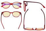 Ladies Blue Light Blocking Glasses with Yellow Filter Lens - Oversized Retro Round Reading Glasses - Tortoise/Red TM9002D