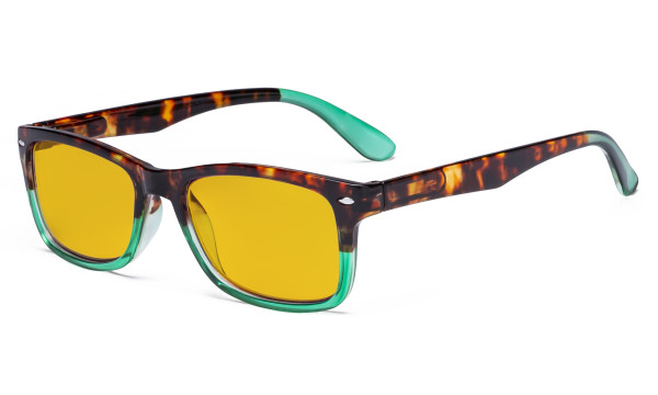 Blue Light Blocking Reading Glasses with Amber Tinted Filter Lens - Anti Glare Anti Reflective Computer Readers - Tortoise/Green HP075D