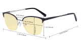 Ladies Blue Light Blocking Glasses Half Rim Design with Yellow Filter - Cateye Eyeglasses for Women Block Computer Screen UV Rays - Anti Glare Filter Reduce Eye Strain - Black  LX19028-BB60