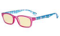 Ladies Blue Light Blocking Reading Glasses with Yellow Filter Lens - Floral Print Colored Computer Readers Women - Red TM029