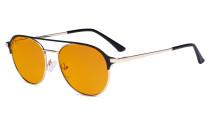 Ladies Blue Light Blocking Glasses with Orange Tinted Filter - Double Bridge Polit Design Eyeglasses for Women Block Computer Screen UV Rays - Anti Glare Filter Reduce Eye Strain - Black  LX19027-BB98
