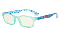 Ladies Blue Light Filter Reading Glasses - UV420 Protection Floral Print Colored Computer Readers Women - Blue UVR029