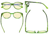 Ladies Blue Light Blocking Glasses with Yellow Filter Lens - Oversized Retro Round Reading Glasses - Tortoise/Green TM9002D