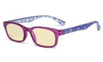 Ladies Blue Light Blocking Reading Glasses with Yellow Filter Lens - Floral Print Colored Computer Readers Women - Purple TM029