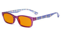 Ladies Blue Light Blocking Reading Glasses with Orange Tinted Filter Lens for Nighttime - Floral Print Colored Computer Readers Women - Purple DS029