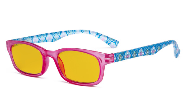 Ladies Blue Light Blocking Reading Glasses with Amber Tinted Filter Lens - Floral Print Colored Computer Readers Women - Red HP029