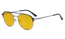 Ladies Blue Light Blocking Glasses with Amber Tinted Filter - Double Bridge Polit Design Eyeglasses for Women Block Computer Screen UV Rays - Anti Glare Filter Reduce Eye Strain - Blue  LX19027-BB90
