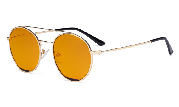 Ladies Blue Light Blocking Glasses with Orange Tinted Filter for Nighttime - Double Bridge Round Design Eyeglasses for Women Block Computer Screen UV Rays - Anti Glare Filter Reduce Eye Strain - Gold/Black  LX19029-BB98