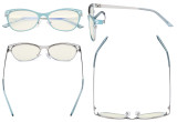 Ladies Blue Light Filter Glasses Hollow Design - Cateye Eyeglasses for Women Block Computer Screen UV Rays - Anti Glare Filter Reduce Eye Strain - Blue LX19025-BB40