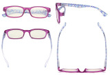 Ladies Blue Light Filter Reading Glasses - UV420 Protection Floral Print Colored Computer Readers Women - Purple UVR029