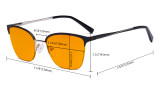 Ladies Blue Light Blocking Glasses Half Rim Design with Orange Tinted Filter - Cateye Eyeglasses for Women Block Computer Screen UV Rays - Anti Glare Filter Reduce Eye Strain - Red  LX19028-BB98