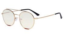 Ladies Blue Light Filter Glasses - Double Bridge Round Design Eyeglasses for Women Block Computer Screen UV Rays - Anti Glare Filter Reduce Eye Strain - Gold/Red  LX19029-BB40