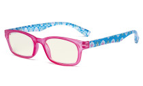 Ladies Blue Light Filter Reading Glasses - UV420 Protection Floral Print Colored Computer Readers Women - Red UVR029