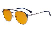 Ladies Blue Light Blocking Glasses with Orange Tinted Filter - Double Bridge Polit Design Eyeglasses for Women Block Computer Screen UV Rays - Anti Glare Filter Reduce Eye Strain - Blue  LX19027-BB98