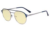 Ladies Blue Light Blocking Glasses with Yellow Filter - Double Bridge Polit Design Eyeglasses for Women Block Computer Screen UV Rays - Anti Glare Filter Reduce Eye Strain - Blue  LX19027-BB60