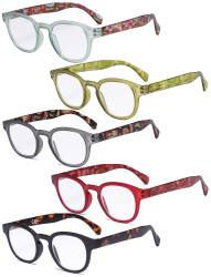 5 Pack Spring Hinges Reading Glasses - Vintage Pattern Design Readers for Women Reading R124F