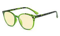 Damen Blaulicht Schutzbrille - mit Gelber Filtergläser - Übergroße Retro Runden Computer Brille Grün - TM9002D