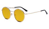 Damen Blaulicht Schutzbrille mit Bernsteinfarbenem Gläser -Doppelte Brücke Runden Design-Brille für Damen Computerbildschirm UV-Strahlenschutz - Blendschutzfilter Reduzieren die Augenbelastung Gold Schwarz - LX19029-BB90