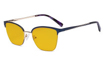 Damen Blaulicht Schutzbrille Halbrand Design mit Bernsteinfarbenem Filter Gläser - Cateye Brillen für Damen Computerbildschirm UV-Strahlenschutz - Blendschutzfilter Reduzieren die Augenbelastung Blau - LX19028-BB90