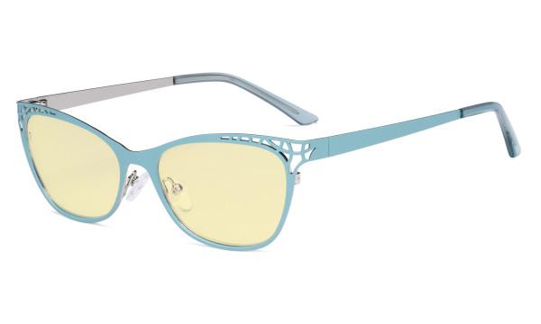 Damen Blaulicht Schutzbrille Hollow Design mit Gelber Filter Gläser - Cateye Brillen für Damen Computerbildschirm UV-Strahlen schutz - Blendschutzfilter Reduzieren Augenbelastung Blau - LX19025 - BB60