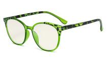 Damen Blaulicht Filterbrille - UV420 Schutz Übergroße Retro Runden Computer Brille Grün - UVR9002D