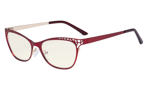 Damen Blaulicht Filterbrille Hollow Design - Cateye Brillen für Damen Computerbildschirm UV-Strahlen schutz - Blendschutzfilter Reduzieren Augenbelastung Rot - LX19025 - BB40
