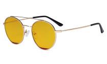Damen Blaulicht Schutzbrille mit Bernsteinfarbenem Gläser -Doppelte Brücke Runden Design-Brille für Damen Computerbildschirm UV-Strahlenschutz - Blendschutzfilter Reduzieren die Augenbelastung Gold Rot - LX19029-BB90