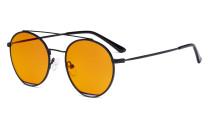 Damen Blaulicht Schutzbrille mit Orange getöntem Filter Gläser -Doppelte Brücke Runden Design-Brille für Damen Computerbildschirm UV-Strahlenschutz - Blendschutzfilter Reduzieren die Augenbelastung Schwarz - LX19029-BB98