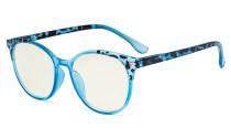 Damen Blaulicht Filterbrille Blau - UV420 Schutz Übergroße Retro Runden Computer Brille Blau - UVR9002D