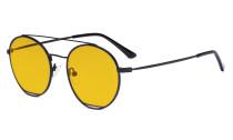 Damen Blaulicht Schutzbrille mit Bernsteinfarbenem Gläser -Doppelte Brücke Runden Design-Brille für Damen Computerbildschirm UV-Strahlenschutz - Blendschutzfilter Reduzieren die Augenbelastung Schwarz - LX19029-BB90