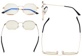Damen Blaulicht Filterbrille - Polygon Design Brille für Damen Computerbildschirm UV-Strahlen schutz - Blendschutzfilter Reduzieren  Augenbelastung Gold Rot - LX19026-BB40
