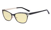 Damen Blaulicht Schutzbrille Hollow Design mit Gelber Filter Gläser - Cateye Brillen für Damen Computerbildschirm UV-Strahlen schutz - Blendschutzfilter Reduzieren Augenbelastung Schwarz - LX19025 - BB60