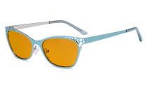 Damen Blaulicht Schutzbrille Hollow Design mit Orange getöntem Filter Gläser für die Nacht - Cateye Brillen für Damen Computerbildschirm UV-Strahlen schutz - Blendschutzfilter Reduzieren Augenbelastung Blau - LX19025 - BB98