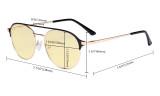 Damen Blaulicht Schutzbrille mit Gelber Filter Gläser- Doppelte Brücke Polit Design Brille für Damen Computerbildschirm UV-Strahlenschutz - Blendschutzfilter Reduzieren die Augenbelastung Rot - LX19027-BB60