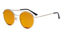 Damen Blaulicht Schutzbrille mit Orange getöntem Filter Gläser -Doppelte Brücke Runden Design-Brille für Damen Computerbildschirm UV-Strahlenschutz - Blendschutzfilter Reduzieren die Augenbelastung Gold Rot - LX19029-BB98