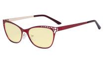 Damen Blaulicht Schutzbrille Hollow Design mit Gelber Filter Gläser - Cateye Brillen für Damen Computerbildschirm UV-Strahlen schutz - Blendschutzfilter Reduzieren Augenbelastung Rot - LX19025 - BB60