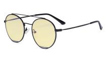 Damen Blaulicht Schutzbrille Gelb getöntem Filter Gläser -Doppelte Brücke Runden Design-Brille für Damen Computerbildschirm UV-Strahlenschutz - Blendschutzfilter Reduzieren die Augenbelastung Schwarz - LX19029-BB60