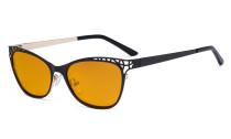 Damen Blaulicht Schutzbrille Hollow Design mit Orange getöntem Filter Gläser für die Nacht - Cateye Brillen für Damen Computerbildschirm UV-Strahlen schutz - Blendschutzfilter Reduzieren Augenbelastung Schwarz - LX19025 - BB98