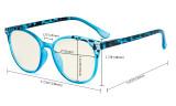Damen Blaulicht Filterbrille - UV420 Schutz Übergroße Retro Runden Computer Brille Rot - UVR9002D