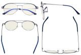 Damen Blaulicht Filterbrille - Doppelte Brücke Polit Design Brille für Damen Computerbildschirm UV-Strahlenschutz - Blendschutzfilter Reduzieren die Augenbelastung Blau - LX19027-BB40