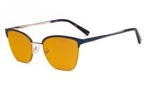 Damen Blaulicht Schutzbrille Halbrand Design mit Orange getöntem Filter Gläser - Cateye Brillen für Damen Computerbildschirm UV-Strahlenschutz - Blendschutzfilter Reduzieren die Augenbelastung Blau - LX19028-BB98