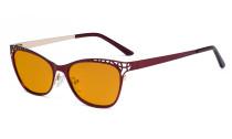 Damen Blaulicht Schutzbrille Hollow Design mit Orange getöntem Filter Gläser für die Nacht - Cateye Brillen für Damen Computerbildschirm UV-Strahlen schutz - Blendschutzfilter Reduzieren Augenbelastung Rot - LX19025 - BB98